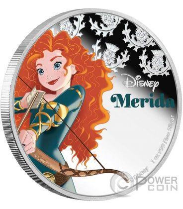 MERIDA Disney Princess Principessa 1 Oz Moneta Argento 2$ Niue 2016