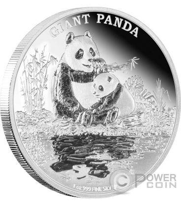 GIANT PANDA Panda Gigante Endangered Species 1 Oz Moneta Argento 2$ Niue 2016