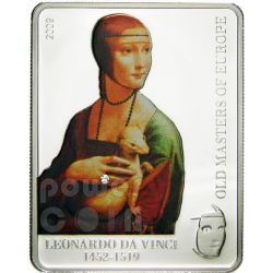 LEONARDO DA VINCI Lady With Ermine Silver Coin 5$ Cook Islands 2009