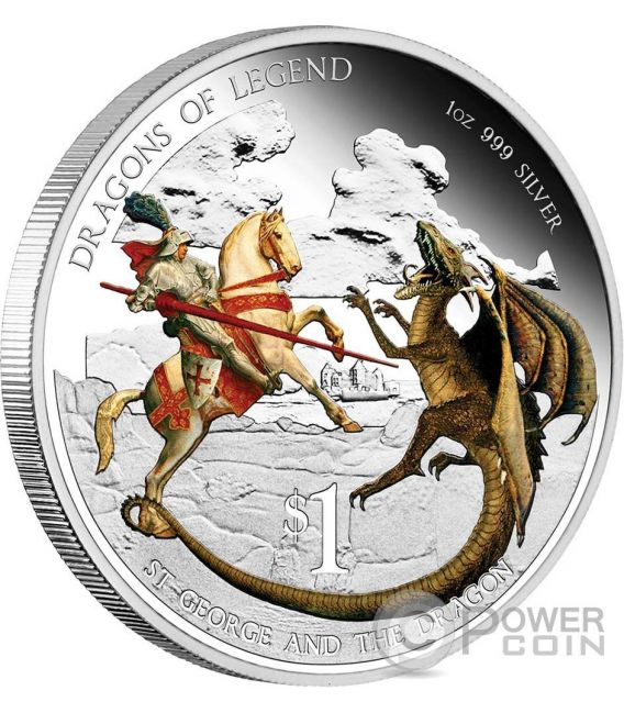 SAINT GEORGE AND THE DRAGON Dragons Of Legend 1 Oz Silber Münze 1$ Tuvalu 2012