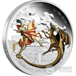 SAINT GEORGE AND THE DRAGON Dragons Of Legend 1 Oz Silver Coin 1$ Tuvalu 2012