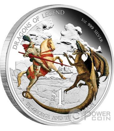SAN GIORGIO E IL DRAGONE Dragoni Leggendari Moneta Argento 1 Oz 1$ Tuvalu 2012