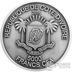 LION BIG FIVE Mauquoy Haut Relief 5 Oz Silber Münze 5000 Francs Ivory Coast 2016