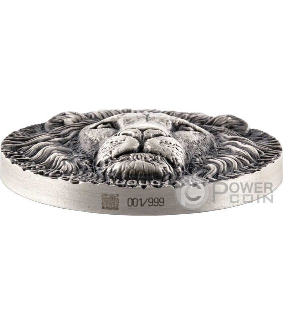 LION BIG FIVE Mauquoy Haut Relief 5 Oz Silver Coin 5000 Francs Ivory Coast 2016
