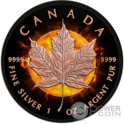 MAPLE LEAF Eclipse Of The Sun Eclissi Solare Moneta Argento 5$ Canada 2016