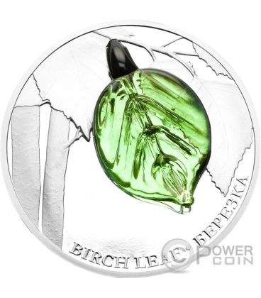 BIRCH LEAF Handcrafted Bohemian Glass Silver Coin 2$ Niue 2016
