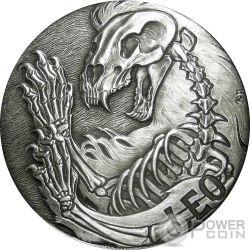 LEO Memento Mori Zodiac Skull Horoscope Серебро Монета 2015