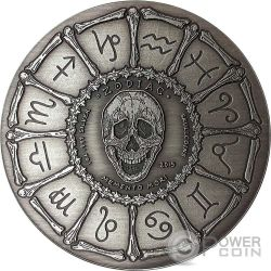 LEO Memento Mori Zodiac Skull Horoscope Silver Coin 2015