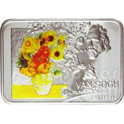 VAN GOGH Vincent Sunflowers Starry Night Silver Coin 1$ Niue 2007