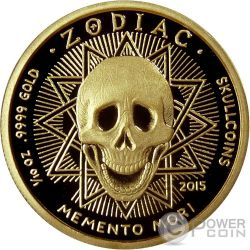 LEO Memento Mori Zodiac Skull Horoscope Gold Münze 2015