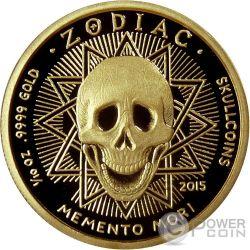 LEO Memento Mori Zodiac Skull Horoscope Moneda Oro 2015