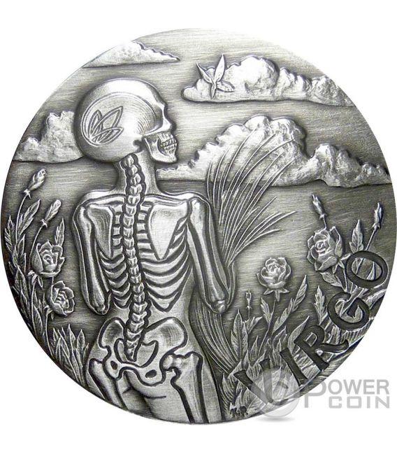 VIRGO Memento Mori Zodiac Skull Horoscope Moneda Plata 2015