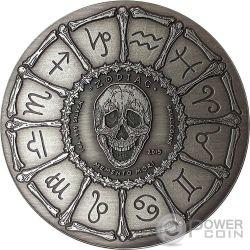 VIRGO Memento Mori Zodiac Skull Horoscope Серебро Монета 2015