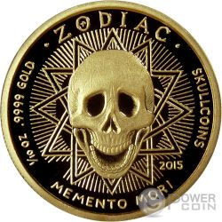 VIRGO Memento Mori Zodiac Skull Horoscope Moneda Oro 2015