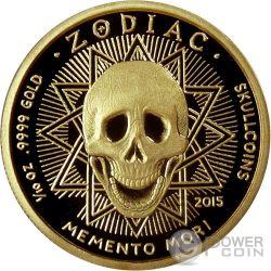 VIRGO Memento Mori Zodiac Skull Horoscope Золото Монета 2015