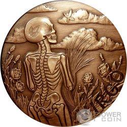 VIRGO Memento Mori Zodiac Skull Horoscope Copper Moneda 2015