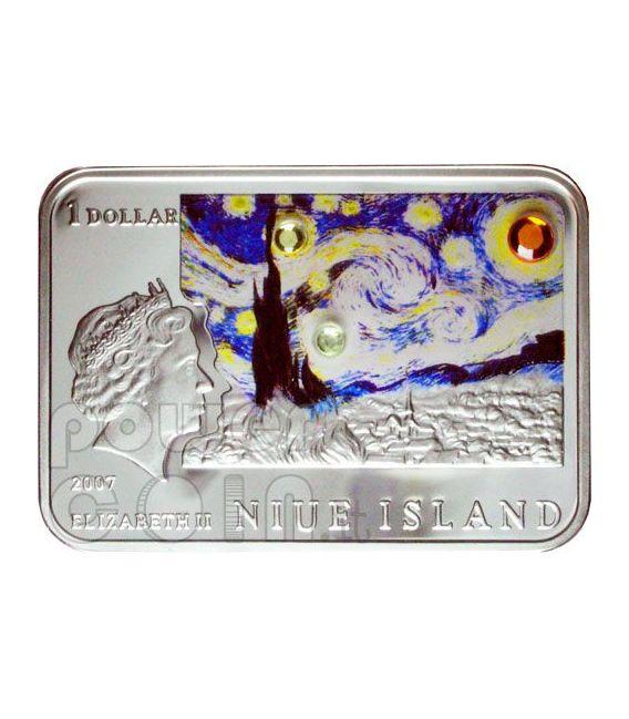 VAN GOGH Vincent Girasoli Notte Stellata Moneta Argento 1$ Niue 2007
