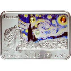 VAN GOGH Vincent Sunflowers Starry Night Moneda Plata 1$ Niue 2007