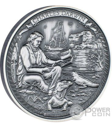 CHARLES DARWIN Journeys Of Discovery 2 Oz Moneta Argento 5$ Niue 2016