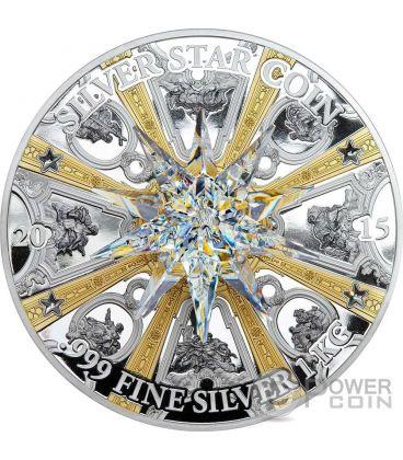 MORAVIAN STAR Crystal Giant Dresden Frauenkirche 1 Kg Kilo Silver Coin 100$ Cook Islands 2015