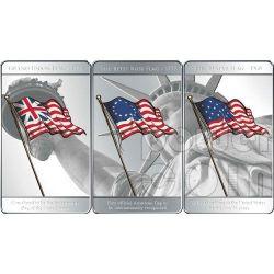 FLAGS OF AMERICA 3 Silver Coin Set 1$ Mesa Grande 2010