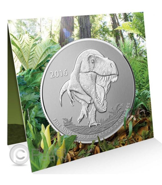 TYRANNOSAURUS REX Dinosaurs Tirannosauro Moneta Argento 20 Dollars Canada 2016