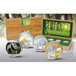 CHINESE PANDA Prestige Set 4x30g Silver Coin 10 Yuan China 2016