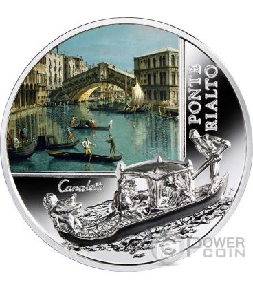 PONTE DI RIALTO SOS Venice Canaletto 1 Oz Moneta Argento 2$ Niue 2016