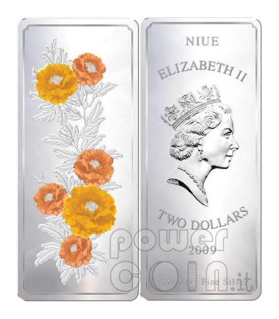 FENG SHUI Paintings Blossoming Peonies 2 Oz Серебро Монета 2$ Ниуэ 2009