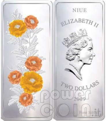 FENG SHUI Dipinti Peonie Fiorite Moneta Argento 2 Oz 2$ Niue 2009