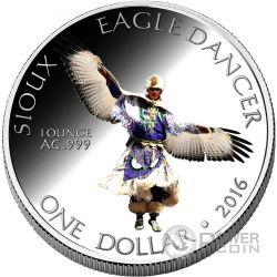 SIOUX Eagle Dancer Danza Aquila Riserva Indiana Moneta 1 Oz Argento 1$ Dollaro America 2016