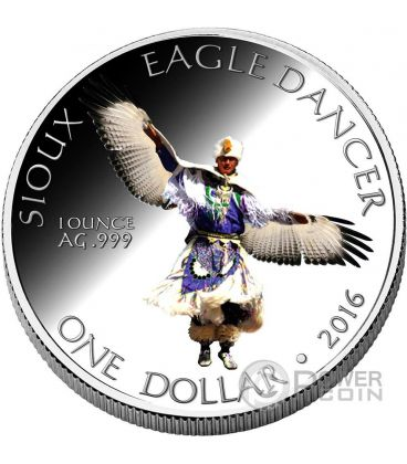 SIOUX Eagle Dancer American Reservation 1 Oz Silver Coin 1$ Dollar America 2016