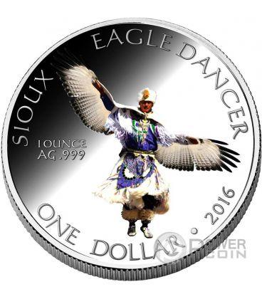 SIOUX Eagle Dancer Danza Aquila Riserva Indiana Moneta 1 Oz Argento 1$ Dollaro America 2016