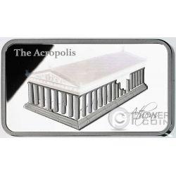 ACROPOLIS Hologram Athens Parthenon Silver Coin 2$ Solomon Islands 2016