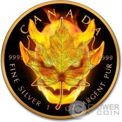 BURNING DEVIL Maple Leaf Fire Black Ruthenium Gold 1 Oz Silver Coin 5$ Canada 2016