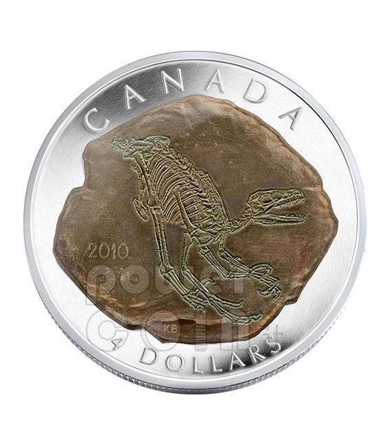 DINOSAUR DROMAEOSAURUS Moneda Plata 4$ Canada 2010