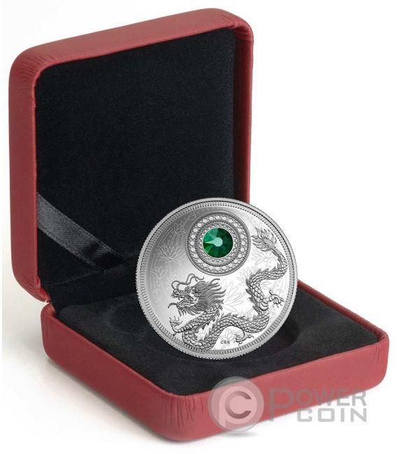 BIRTHSTONES MAY Gemstone Swarovski Silver Coin 5$ Canada 2016