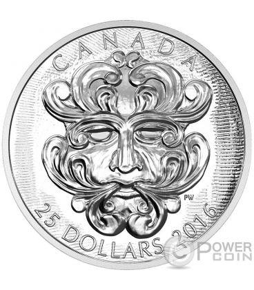 GROTESQUE FOLIATED GREEN MAN Sculptural Art of Parliament Silver Coin 25$ Canada 2016