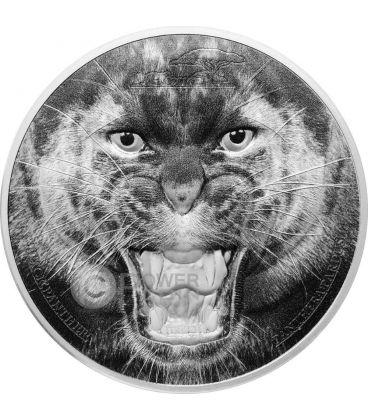BLACK PANTHER Pantera Nera Rare Wildlife 2 Oz Moneta Argento 1500 Shillings Tanzania 2016