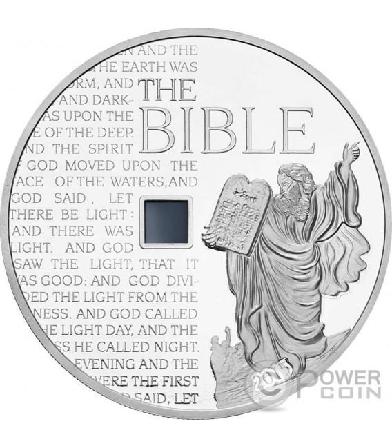 MOSES OLD TESTAMENT Vecchio Testamento Bibbia Nano Bible 1 Oz Moneta Argento 1000 Franchi Burkina Faso 2015