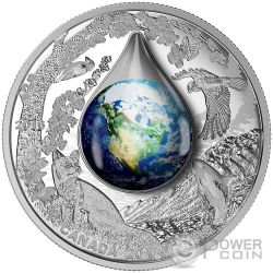 MOTHER EARTH Water Droplet Silver Coin 20$ Canada 2016
