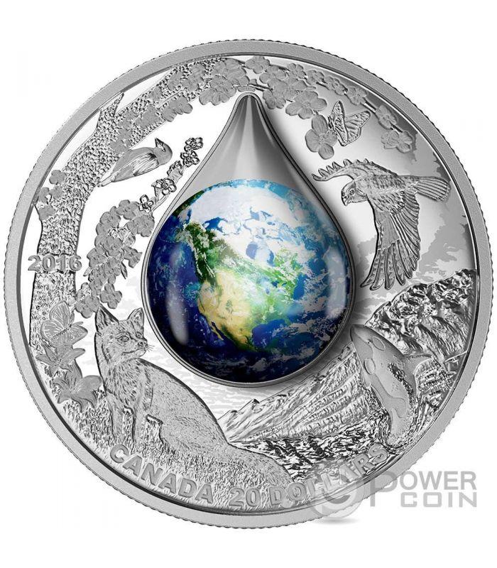 Mother Earth Water Droplet Silver Coin 20 Canada 2016