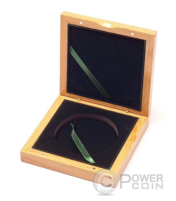 WOODEN COIN BOX Jewel Case Etui Package For Münzen Medals 72 mm