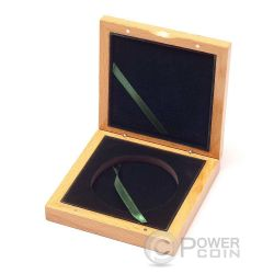 WOODEN COIN BOX Jewel Case Etui Package For Coins Medals 72 mm
