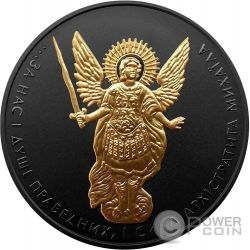ARCHANGEL MICHAEL Shade of Enigma Black Ruthenium 1 Oz Silver Coin 1 Hryvnia Ukraine 2015