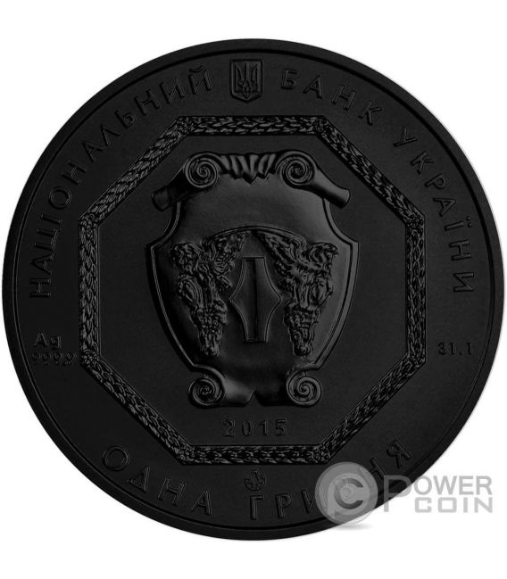 ARCHANGEL MICHAEL Shade of Enigma Black Ruthenium 1 Oz Silber Münze 1 Hryvnia Ukraine 2015