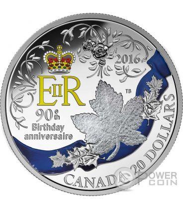 QUEEN ELIZABETH II Regina Elisabetta 90 Compleanno Moneta Argento 20$ Canada 2016