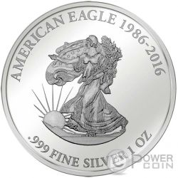 WALKING LIBERTY Smick Ounce Edition Moneta Argento 1000 Franchi Gabon 2016