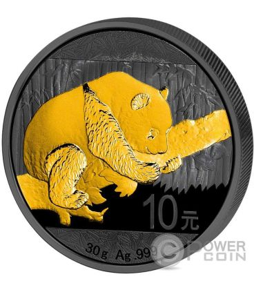 GOLDEN ENIGMA Panda Nera Rutenio Moneta Argento 10 Yuan Cina 2016