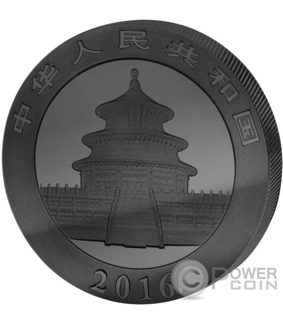 GOLDEN ENIGMA Panda Black Ruthenium Silver Coin 10 Yuan China 2016